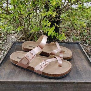 Cork Slide On Toe Loop Sandals Rose Gold